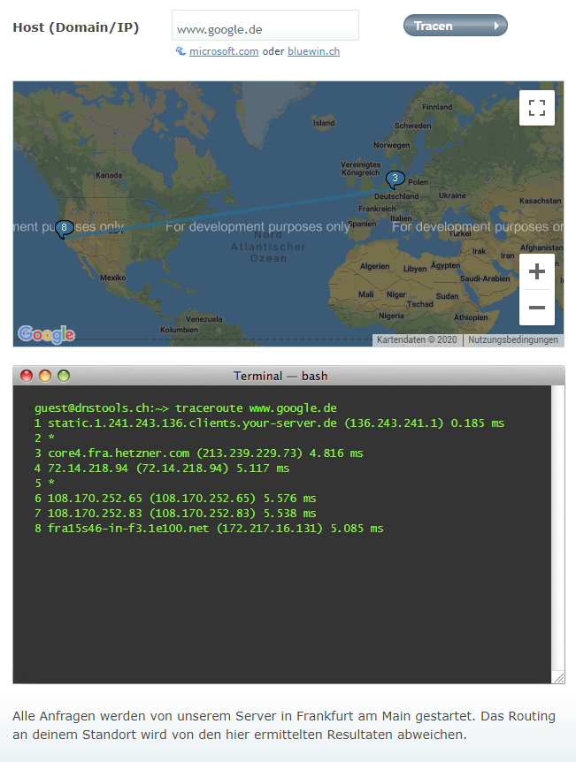 Screenshot Traceroute Webversion